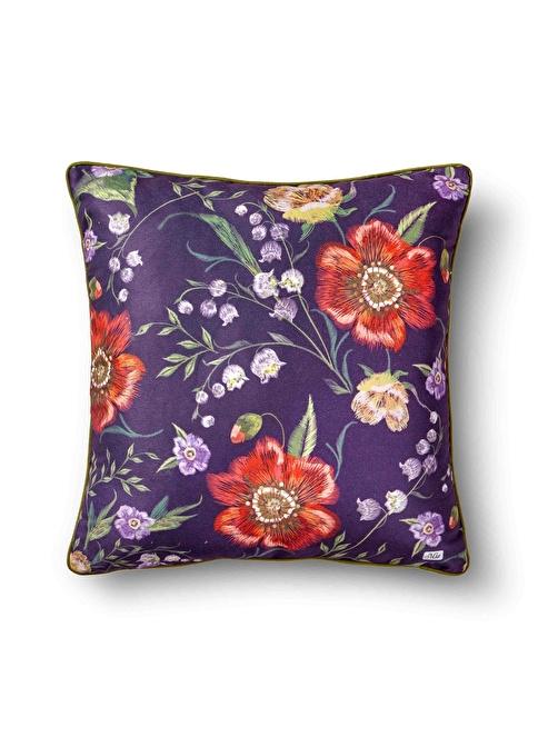 The Mia Floral Yastık B - Mor Çiçekli 50 x 50cm Mor